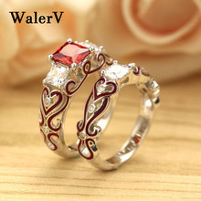 WalerV Luxury Wedding Rings Pair Red Engagement Band Ring Sets For Women Zirkonia Crystal Jewelry Forever Love Green Zircon Ring(China)
