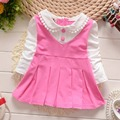 Spring  Long Sleeve Faux Two Piece baby Party Birthday girls kids Children dresses, princess infant Dress Roupa Vestido S2352