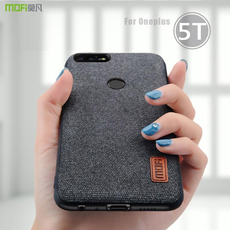 Oneplus 5 t Caso Capa MOFI One Plus 5 T Voltar Hard Case borda de silicone macio Tecidos Business Case para 1 + 5 t Cobertura Completa OP5T caso