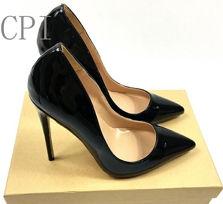 Le donne Sexy di Marca Punta A Punta In Vernice Pompe Degli alti Talloni Scarpe Da Donna Tacchi Partito Scarpe Da Sposa di alta qualità