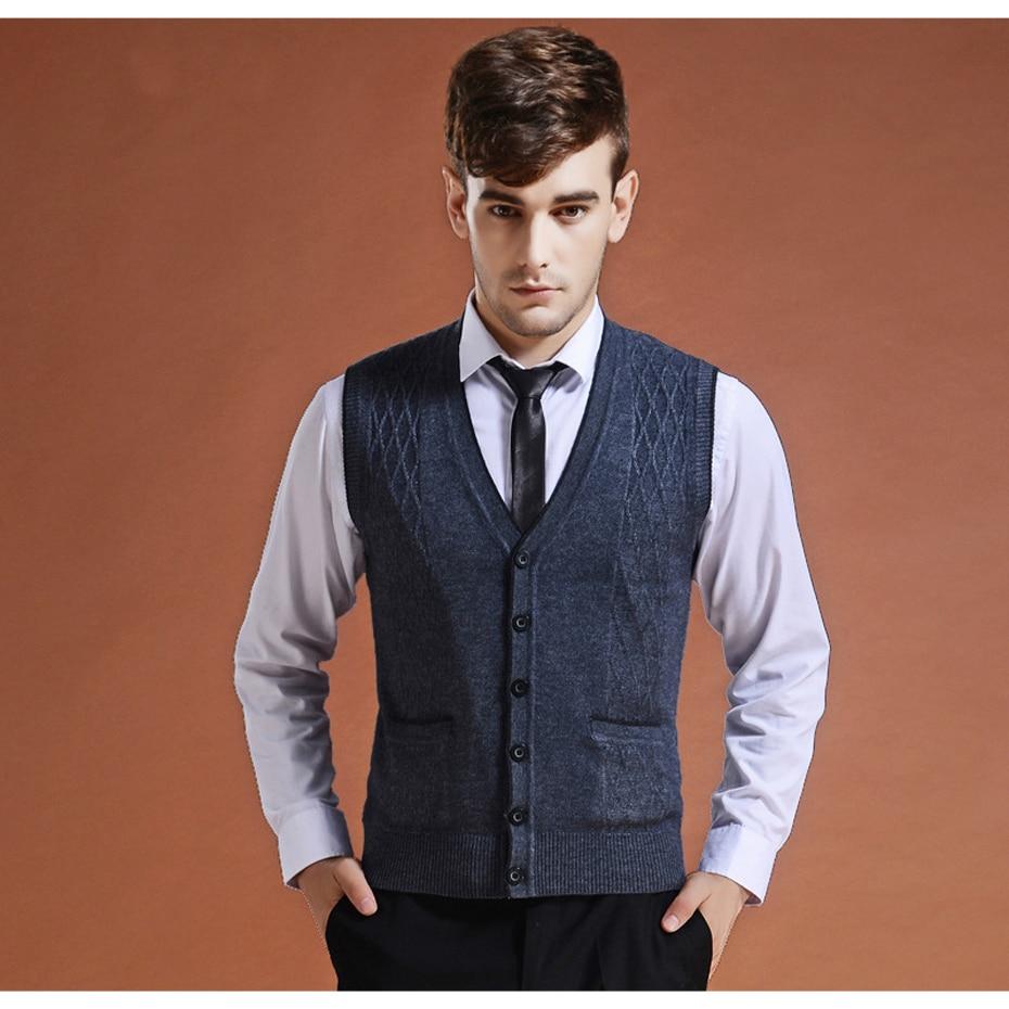 2018 Neue Männer Beiläufige Wolle Stricken Weste Pullover Männer V-ausschnitt Mode Grundlegende Strickjacke Ärmellose Pullover Marke Kleidung Zu Verkaufen