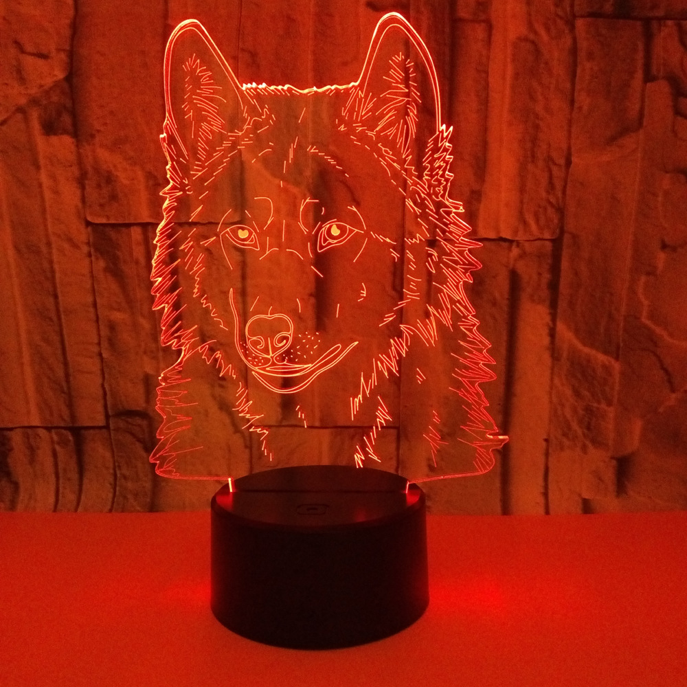 novo lobo 3d lampada colorida toque remoto 04