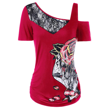 2018 Women T-Shirt Floral 3d Print One Shoulder Lace Patchwork Tee Shirts Short Sleeve T Shirt Female Tops Plus Size WS7417R 1