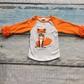 baby Fall/winter girls full sleeve icing cotton reglans fox reindeer minnie print boutique top T-shirt  ruffles clothes