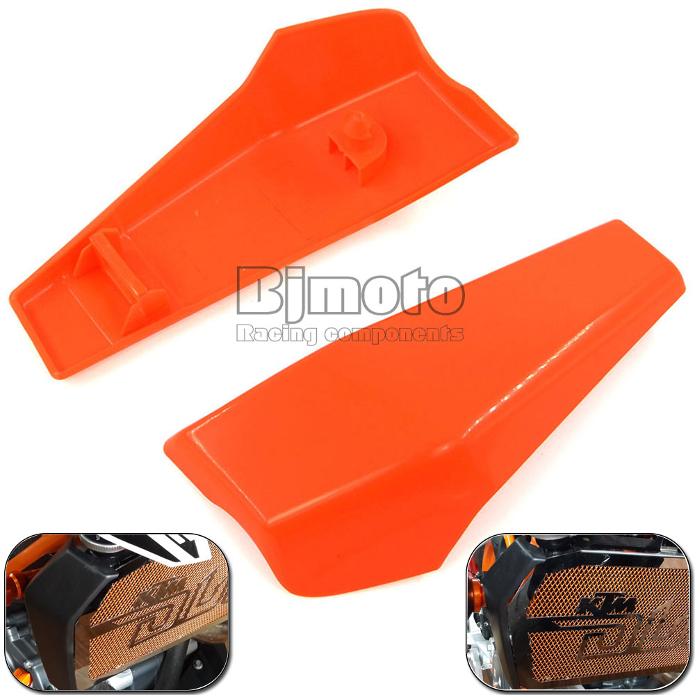 BJMOTO Orange Plastic Motorcycle Radiator Side Cover Guard Protector Pelon For KTM DUKE 390 2013 2014 2015 2016 for ktm 390 duke motorcycle leather pillon rear passenger seat orange color