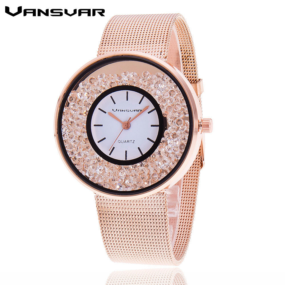 Vansvar Brand Fashion Rose Gold & Silver Mesh Band Quartz Wtach Luxury Stainless Steel Women Rhinestone Watch Relogio Feminino