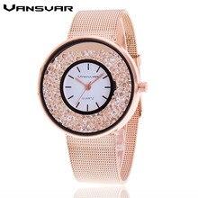 Vansvar Brand Fashion Rose Gold Silver Mesh Band Quartz Wtach Luxury Stainless Steel Women Rhinestone Watch