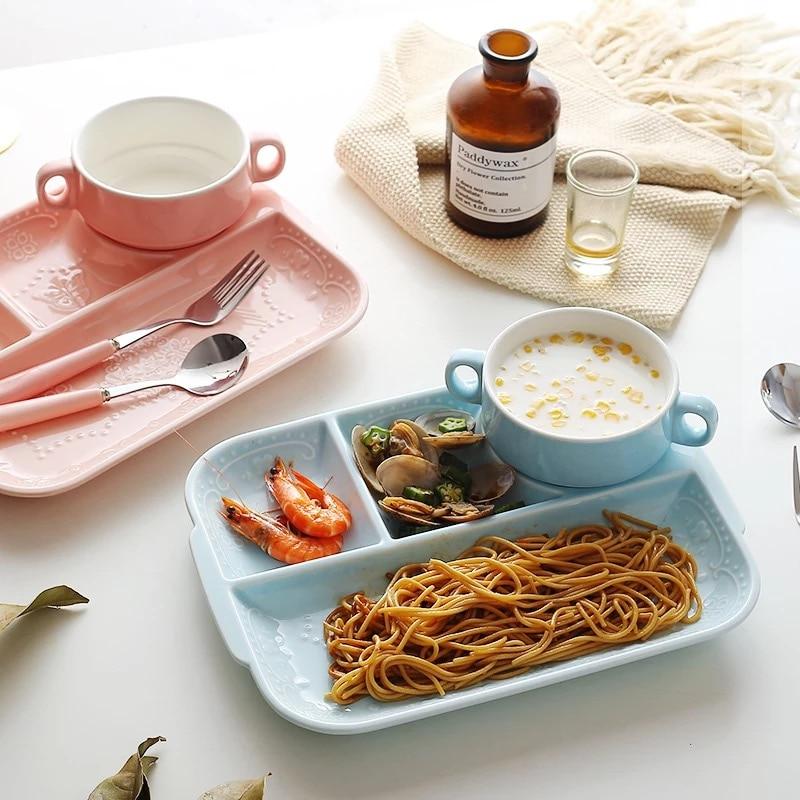 Uued keraamilised laste lauanõud Imiku söötmeplaat Puuviljakastid lapsed roosa valge jagatud plaatema lapse taldrikukott