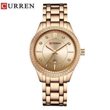 CURREN Brand Fashion Luxury Rhinestone Watches Ladies Quartz wristwatch Casual wristwatch elegant Female Clock Relogio Feminino дамски часовници розово злато
