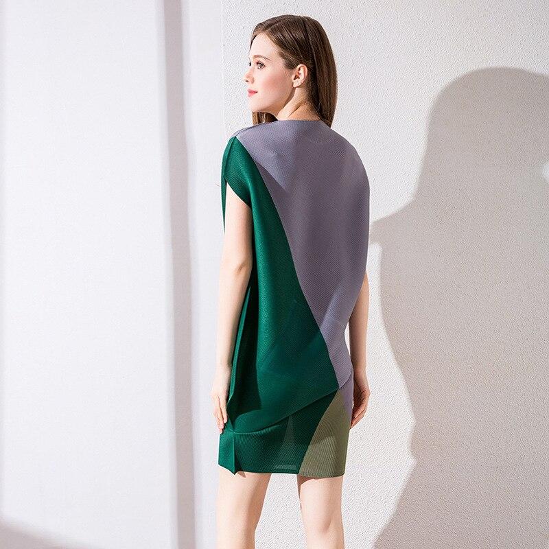 Miyake Pour Gratuite Vert Couleur Taille Vêtements D'été Rides Livraison Plis Lâche Grande Nouveau Robe Femmes 2018 Courte Irrégulière Ianzq