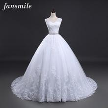 Fansmile Backless 레이스 긴 기차 공 웨딩 드레스 2020 신부 드레스 웨딩 드레스 Vestidos 드 Novia 로브 드 Mariee FSM 099T