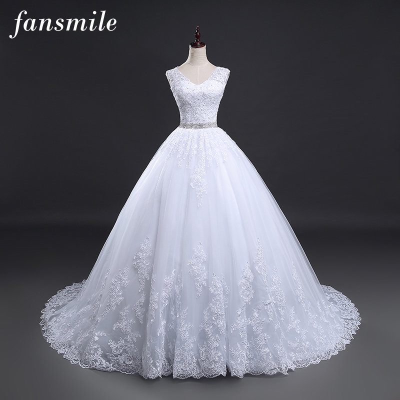 Fansmile Backless Lace Long Train Ball Wedding Dresses 2020 Bridal Dress Wedding Gowns Vestidos De Novia Robe De Mariee FSM-099T