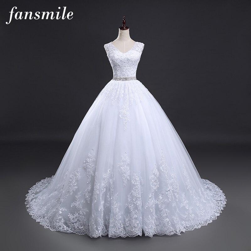 Fansmile Backless Lace Long Train Ball Wedding Dresses 2020 Bridal Dress Wedding Gowns Vestidos De Novia Robe De Mariee FSM-099T