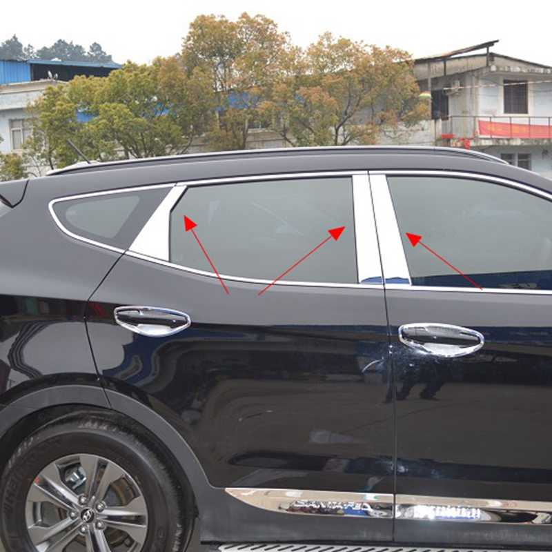 MONTFORD Auto Styling Rvs Side Exterieur Center Raamlijsten B + C Pijler 6 Stks Voor Hyundai Santa Fe ix45 2013 2014 2015