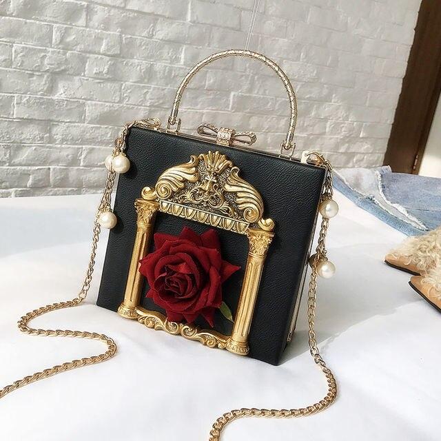 2019 Vintage Embossed Women Handbag Luxury Brand Pearl Chain Box Bag Female Pu Leather Shoulder Bag Diamonds Evening Bags Ladies 3