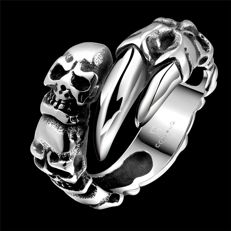 Hot Cool 316L Stainless Steel Skull Ring Magic Movie Props Black Vintage Punk Style Women Mens Titanium steel Finger RIngs