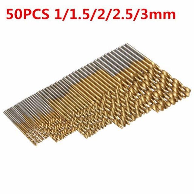 High Steel Titanium Coated Drill Woodworking Wood Tool 1/1.5/2/2.5/3mm For Metal 50Pcs/Set Twist Drill Bit Set Saw Set HSS