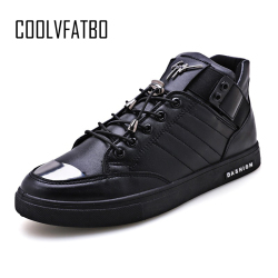 COOLVFATBO Men's Vulcanize Shoes solid shallow lace-up designer sneakers for students cotton fabric increase men High Top shoes