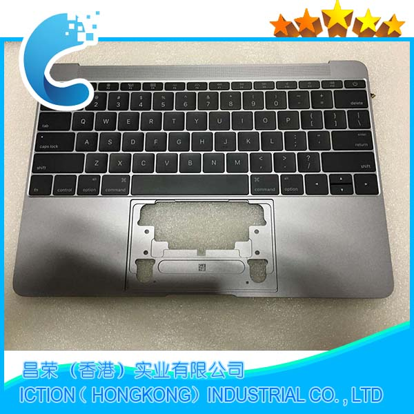 Original For Macbook Pro Retina 12 A1534 Topcase With Keyboard Upper Top Case Palmrest US Layout 2016 Years Gray Color Model new cover keyboard for lenovo ibm thinkpad x1 carbon topcase palmrest with us keyboard layout laptop with a trackpad