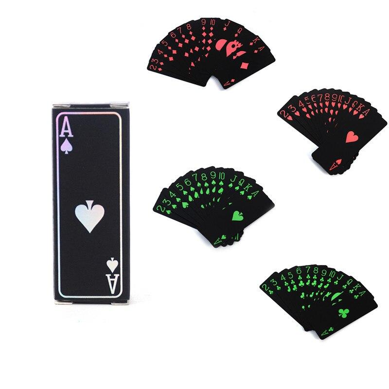 54Pcs Black Playing Cards Mini Deck Box Foil Poker Set Magic Plastic Card Game Poker Waterproof Plastic PVC Playing Cards Set
