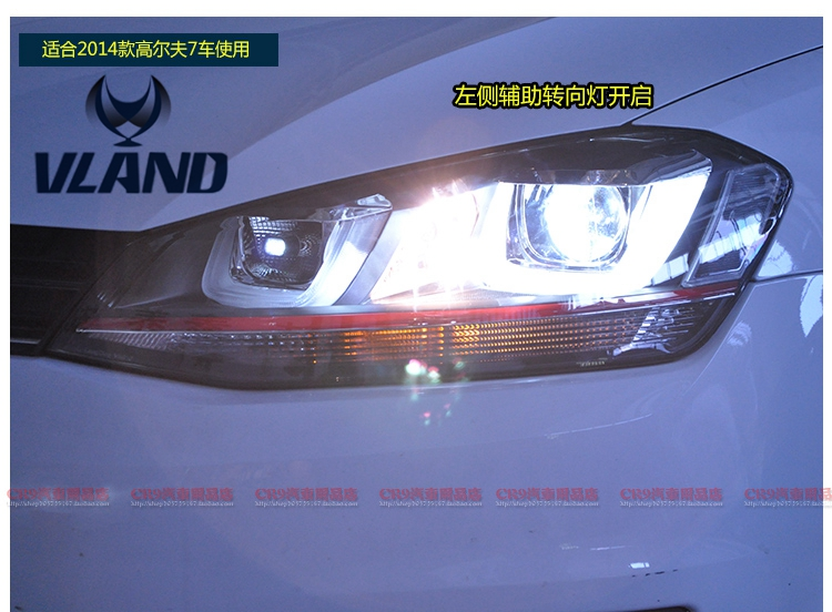 For Vland Factory Car Head Lamp for GOLF7 LED Headlight HID BI-xenon Projector for Both LHD and RHD Cars free shipping for vland factory for car head lamp for audi for a3 led headlight 2008 2009 2010 2011 2012 year h7 xenon lens