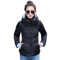 2018 Hooded Women Winter Jacket Short Cotton Padded Womens Coat Autumn Casaco Feminino Inverno Solid Color