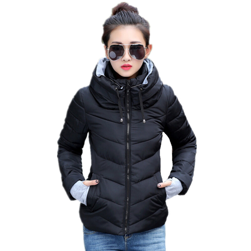 2018 hooded women winter jacket short cotton padded womens coat autumn casaco feminino inverno solid color parka stand collar ...
