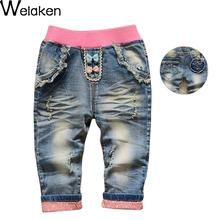 Hot Sale 2016 Autumn Girl Denim Pants Cute Rabbit Pattern Children Clothing Kids Bottom Pants Child Apparel Casual Girls Jeans