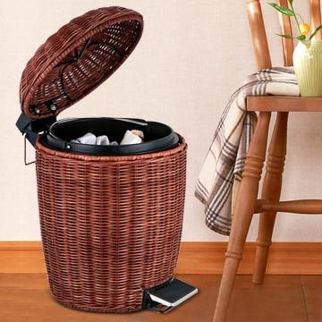 Fashion Creative Rattan Basket With A Lid Garbage Bins Foot Home Kitchen  Wastebasket Trash Barrel Storage