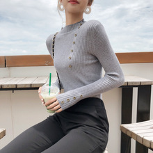 Solid Colour Half-collar Knitted Sweater Woman Unlined Shirt Simple Long Sleeve Shirt Slim Thin Pullover Female Knitwear Tops half sleeve high low pullover knitwear
