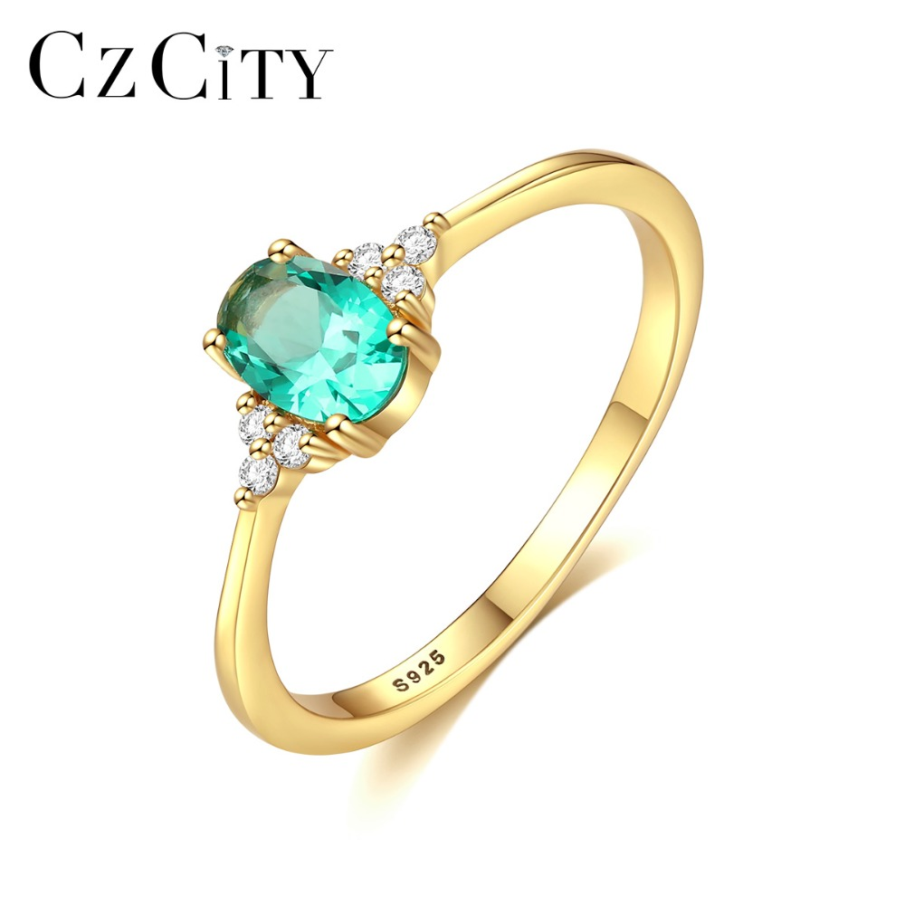CZCITY Delicate Green Oval Topaz Bridal Wedding Rings For Women 100% 925 Silver Sterling Birthstone Promise Rings Jewelry Bijoux