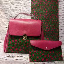 3pcs Set Green African Ankara Tote Bag+ Clutch Bag And african wax prints fabric wax For Wedding DFB-7 цены онлайн