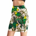 NUEVA Llegada 0023 Mujeres Sexy Girl Summer Bird loro verde 3D Imprime Skater Minifalda Noche Sexy Mini Falda Apretada