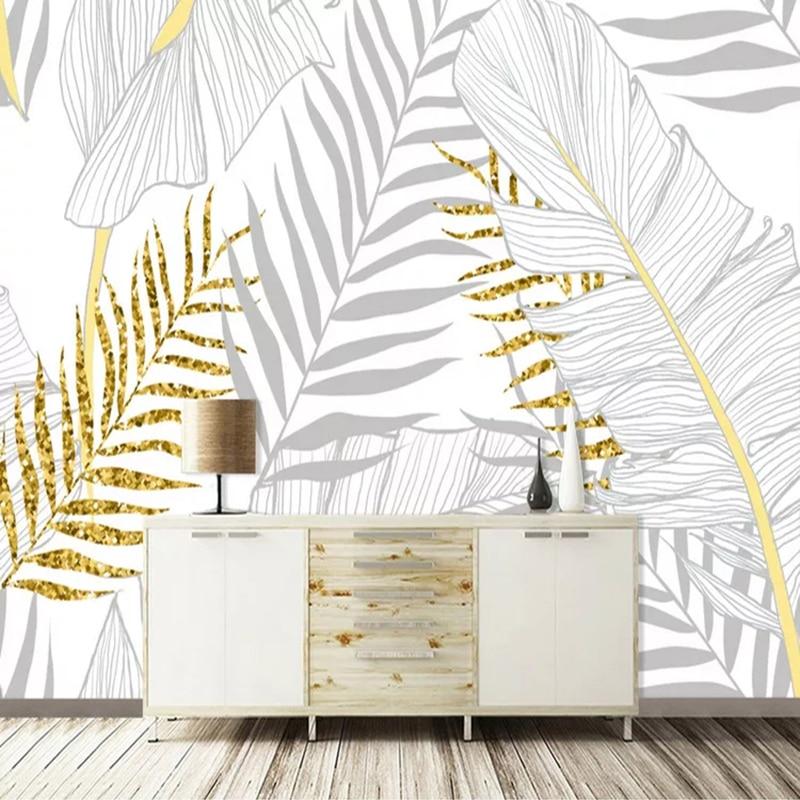 Custom Mural Wallpaper Modern Nordic Abstract Golden Plant Banana Leaves 3D Photo Wall Paper For Living Room Bedroom Home Decor