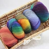500g(10ball)/lot Hand Knitted Woolen Rainbow Wool Colorful Knitting Scores Wool Yarn Needles Crochet Weave Thread