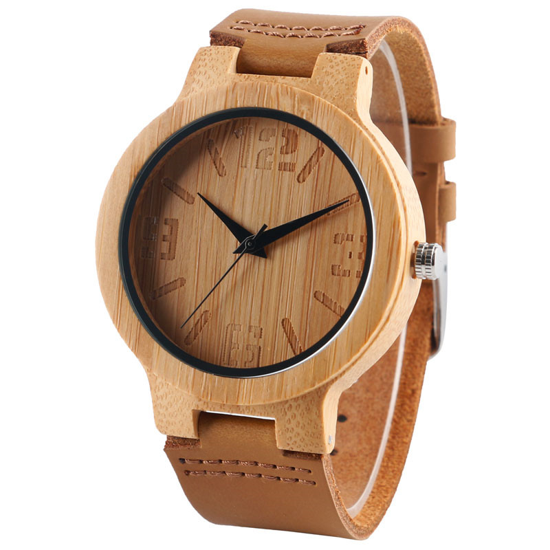Classical Dial Mens Wood Watches Nature Hand-made Wooden Quartz Wristwatches Brown Genuine Leather Band for Men Women Gift