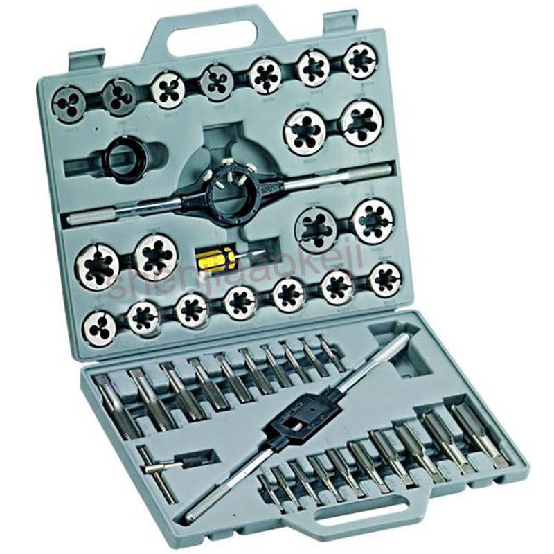 Taps and Die Set Sets 1/4 1 Tap and Die Set Inch Hand Screw Taps 45 pc/set Alloy Steel Thread Cutting Tool With Case
