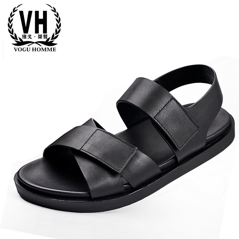 Summer Genuine leather sandals breathable sandals casual slippers all-match cowhide Sneakers Men Flip Flops beach outdoor male