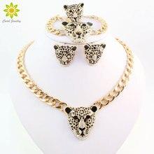 Крутой браслет с головой леопарда, серьги, кольцо, ожерелье, набор для женщин, Модный золотой цвет, костюм, африканские Ювелирные наборы, стразы