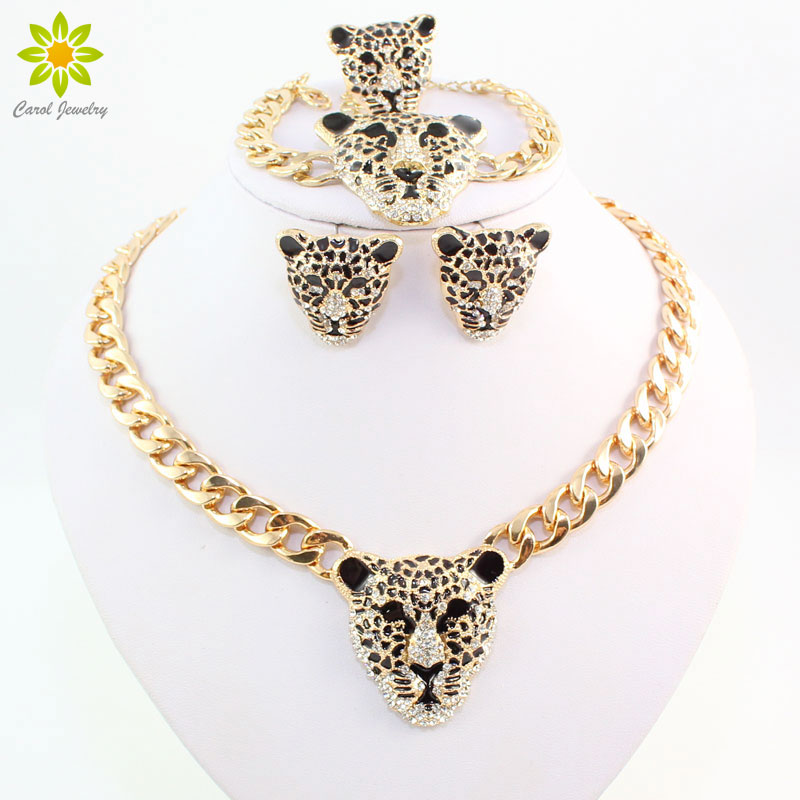 Cool Leopard Head Bracelet Earrings Ring Necklace Set para mujeres Trendy Gold Color Costume Conjuntos de joyas africanas con diamantes de imitación