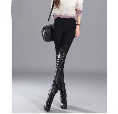 2018 New Autumn and winter Women Stitching Leather Pants Slim Lace Pencil Pants Warm Patchwork Trousers Middle Waist Underpants in Pants amp Capris from Women 39 s Clothing