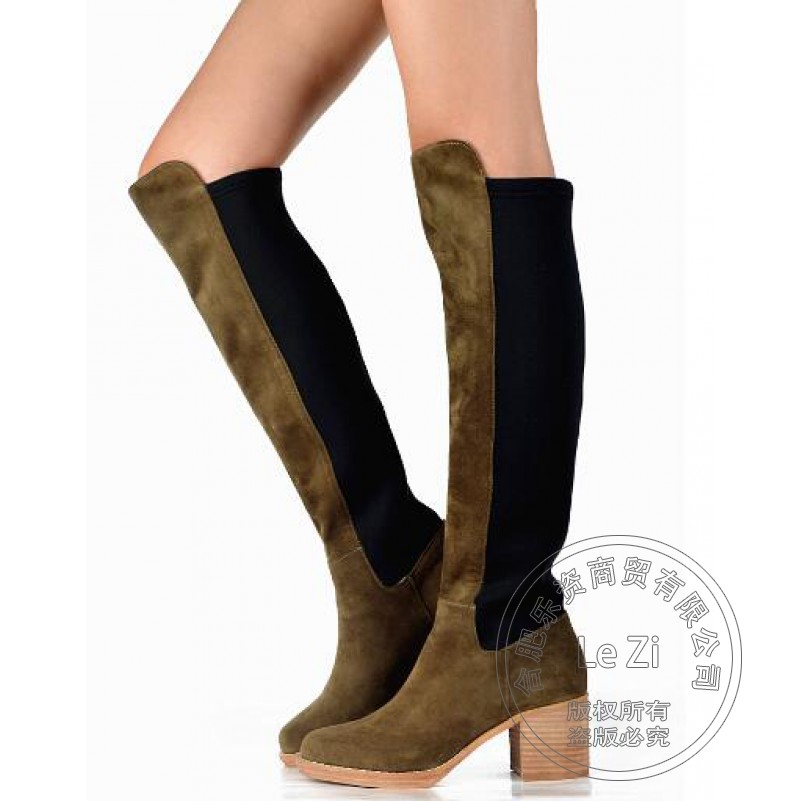 Army Military Green Vintage Suede Genuine Leather Chunky High Heels Shoes Women Stretch Fabric Over The Knee Thigh High Boots