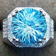 Мужское кольцо, кольцо с натуральным голубым топазом,, натуральный настоящий голубой топаз, серебро 925 пробы, 9.5CT драгоценный камень, хорошее ювелирное изделие# SL18080215