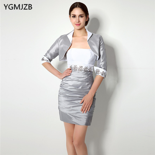 Plus Size Silver Mother Of The Bride Dresses 2018 Sheath With Jacket