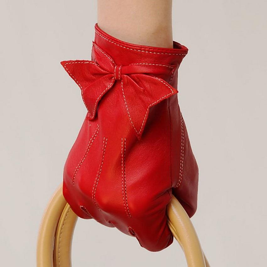 Women Leather Gloves Wrist Bowknot Genuine Red Sheepskin Fashion Goatskin L055PQ