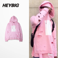 Holes Skateboard Men's Pullover Street Fashion Hoodies Cherry Pink Hip Hop Hooded Sweatshirt Print Tracksuits China sizing S-3XL
