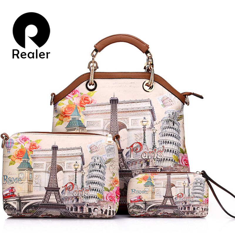 REALER brand 3 pcs printed handbag women large tote bag artificial leather shoulder messenger bags female small coin purse tote bag