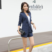 Women Summer Autumn Long Sleeved Blazer With Shorts OL Office Ladies Formal Suits 2017 Work Wear