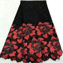 High Quality African Lace Fabric 2018 Latest Guipure Red & black Color Nigerian