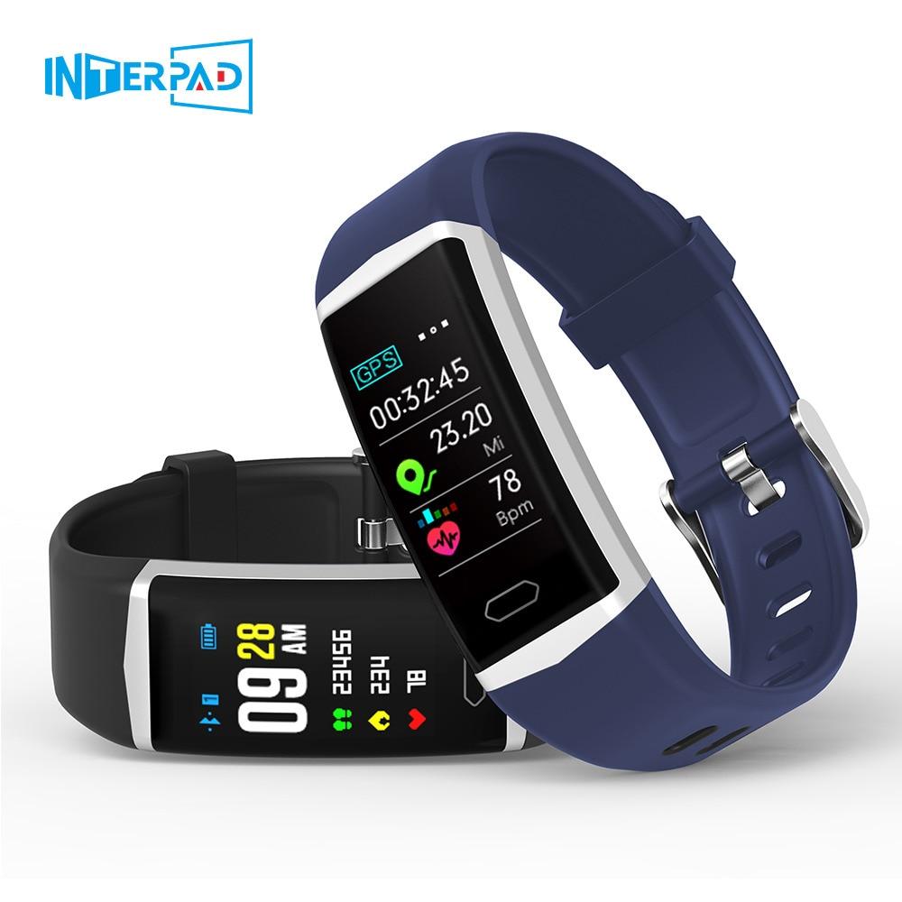 Interpad GPS Bracelet intelligent hommes femmes Sport montre intelligente traqueur de fréquence cardiaque traqueur de Fitness Bracelet intelligent pour iPhone Huawei